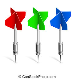 Three colorful darts. Illustration on white background for...