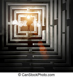 Silhouette of businessman in maze - Silhouette of...