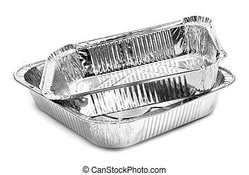 aluminium foil trays - some aluminium foil trays on a white...