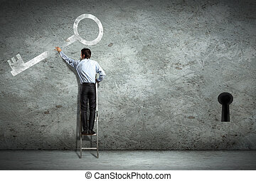 Business decision making - Image of businessman standing on...