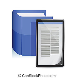 E-book reader concept. Tablet pc illustration design