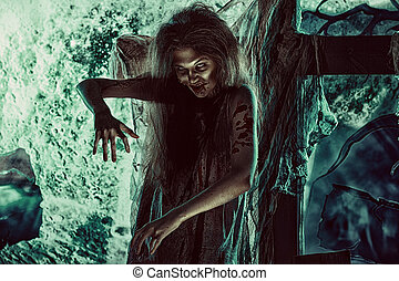 female zombie - Bloodthirsty zombi standing at the night...