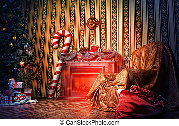 indoor xmas - Christmas home decoration with tree, gifts and...