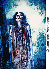 screaming - Bloodthirsty zombi standing at the night...