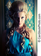 updo hair - Beautiful romantic lady posing in the vintage...