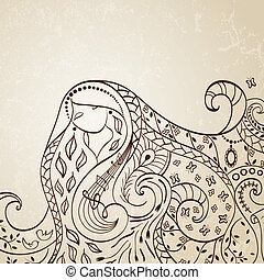 Long haired girl Vector illustration - Long haired girl...