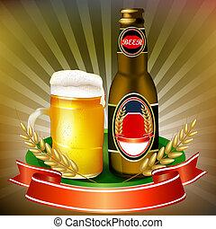 Illustration of bottle and mug beer