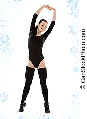 fitness in black leotard - lovely girl in black leotard...