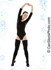 fitness in black leotard - lovely girl in black leotard...