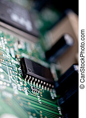 Extreme close-up of a circuit board