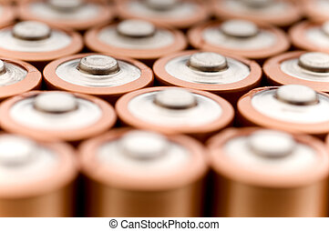 Macro of used batteries ready for recycling