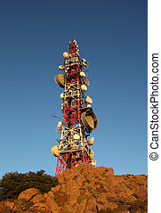 Communication tower on top of a mountain