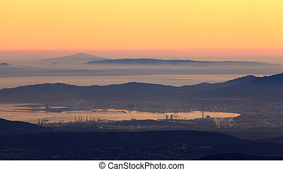 Bay of Algeciras and the Strait of Gibraltar at dusk