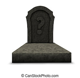 gravestone with question mark on white background - 3d...