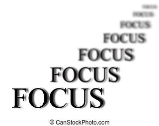 Staying in Focus - The word focus with blurred words in...