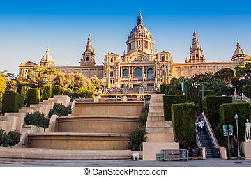 Barcelona,Spain - Placa De Espanya, the National Museum in...
