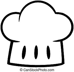 Outlined Chef Hat Cartoon Character