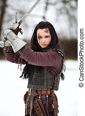 mujer, medieval, disfraz, tenencia, espada