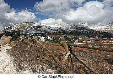 Tree line - Mountain road with snow fence
