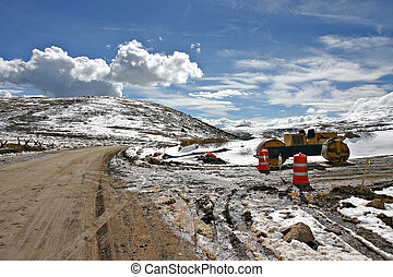 Road construction at the top of the world - Seems you can't...