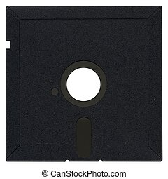 Magnetic diskette - Vintage 525 diskette isolated over white...