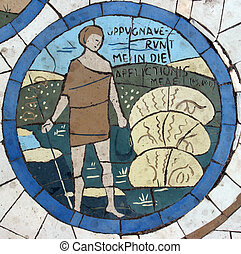 David, Mosaic in front of the church on the Mount of...