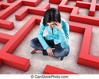 Girl in a labyrinth - Sad girl sits in a labyrinth with red...
