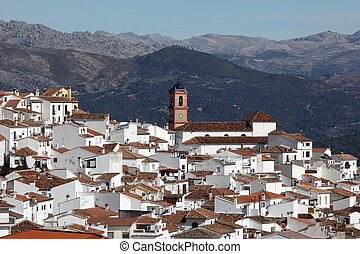 White Andalusian village pueblo blanco Algatocin Province of...