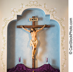 large crucifix at Carmel Mission - close up of large...