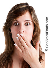 Shocked Woman Covering her Mouth with her hand, isolated in...