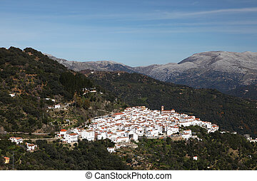 Traditional Andalusian white village pueblo blanco Algatocin...