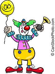 funny clown cartoon illustration - Cartoon Illustration of...