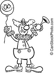 clown cartoon illustration for coloring - Black and White...