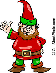 gnome or dwarf cartoon illustration - Cartoon Illustration...