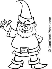 gnome or dwarf cartoon for coloring book - Black and White...