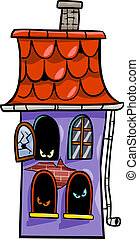 haunted house cartoon illustration