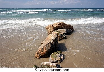 National park Caesarea on coast of Mediterranean sea in...