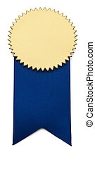 First Place Ribbon - Blue and Gold Award Ribbon on isolated...