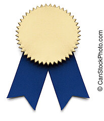 First Place - Blue and Gold Award Ribbon on isolated white.