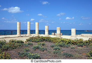 Caesarea, Israel - Antique marble pillars in Caesarea