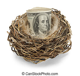 Nest Egg - Retirement nest egg of cash in a nest isolated on...