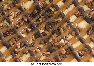 Carmel Cheesecake Background - Macro Carmel Cheesecake...