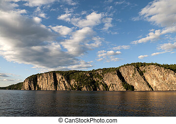 Northern Ontario Lake and Cliffside - Large cliff area on a...