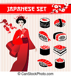 Japanese set: traditional food sushi, geisha and branch of...