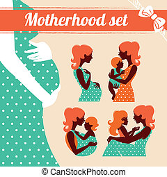 Motherhood set. Silhouettes of mother and baby