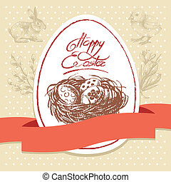 Vintage Easter background, hand drawn illustration Easter...