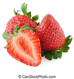 Beautiful strawberries isolated on white background
