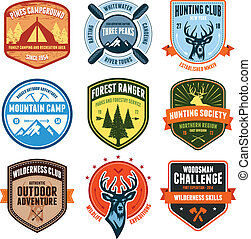 Outdoor emblems - Set of outdoor adventure badges and...