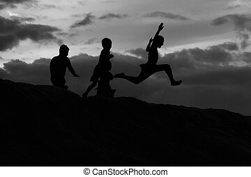 Kids in fun moods - Silhouette black and white, Kids in fun...