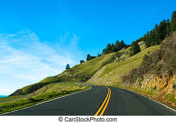 winding road to the future - winding road on the California...